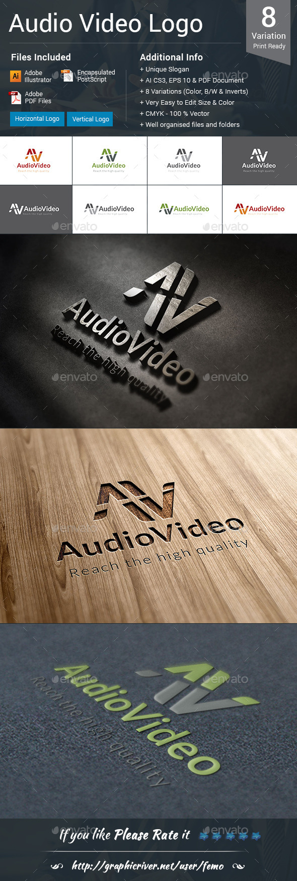 Audio Video Logo - Letters Logo Templates