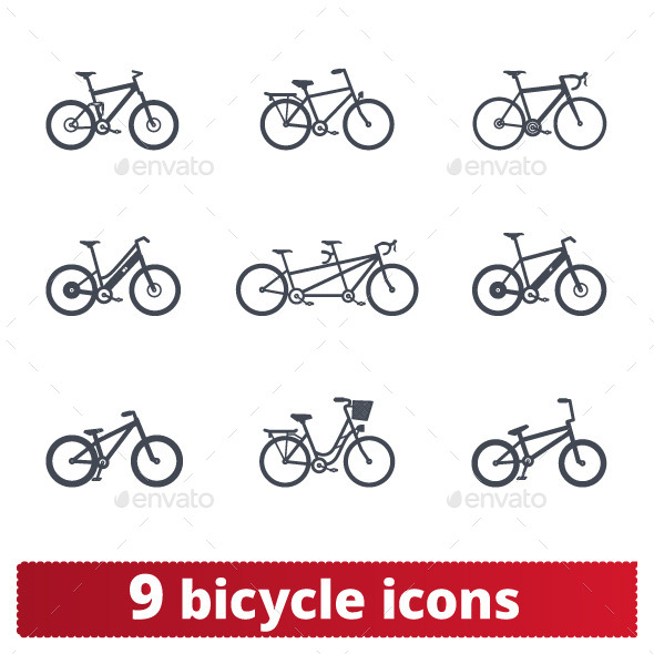 Bicycle Icons: Vector Set - Man-made objects Objects