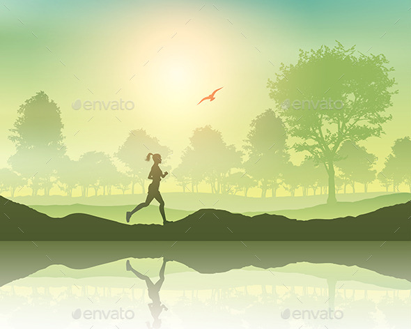 Female Jogging in the Countryside - People Characters