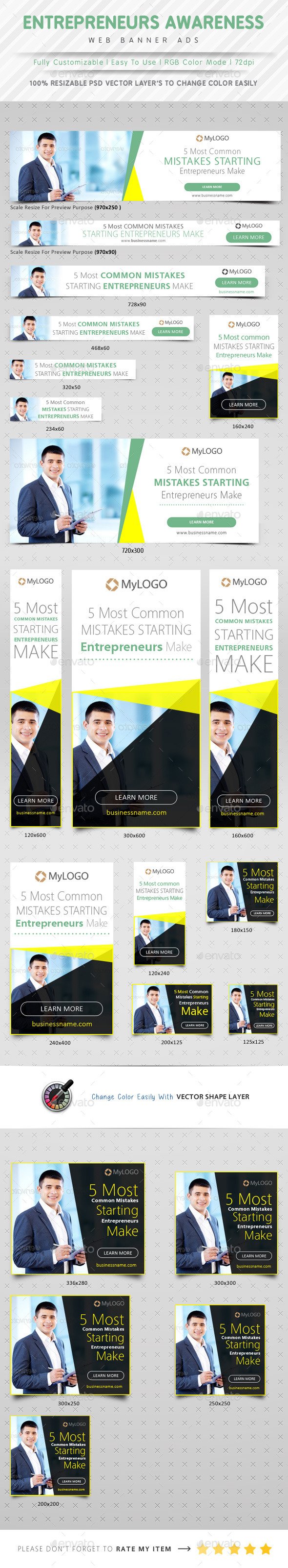 Entrepreneurs Awareness Web Banner Ads - Banners & Ads Web Elements