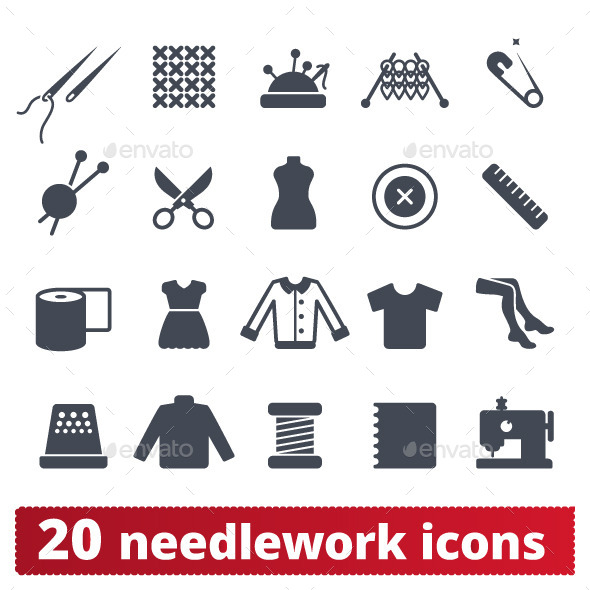 Fashion and Needlework Icons: Vector Set - Man-made objects Objects