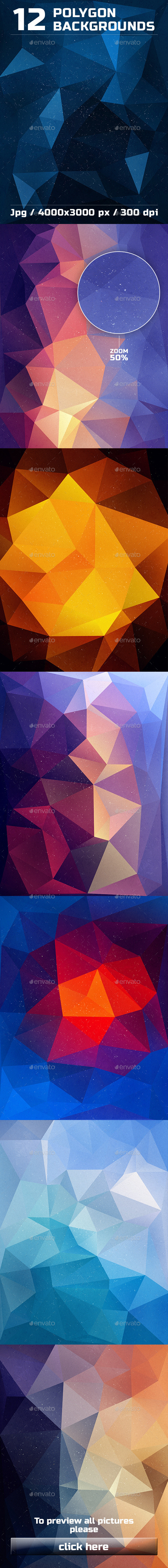 12 Polygon Backgrounds Vol. 3 - Abstract Backgrounds