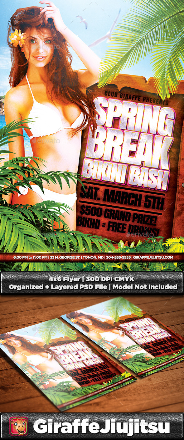 Spring Break Bikini Bash Flyer Template - Clubs & Parties Events