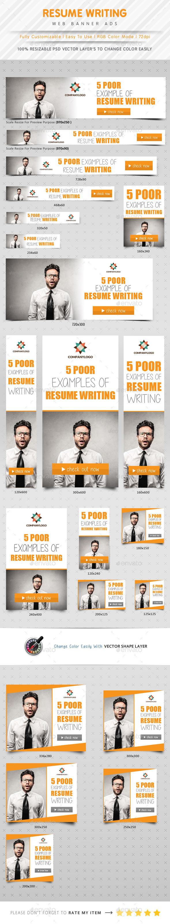 Resume Writing Web Banner Ads - Banners & Ads Web Elements
