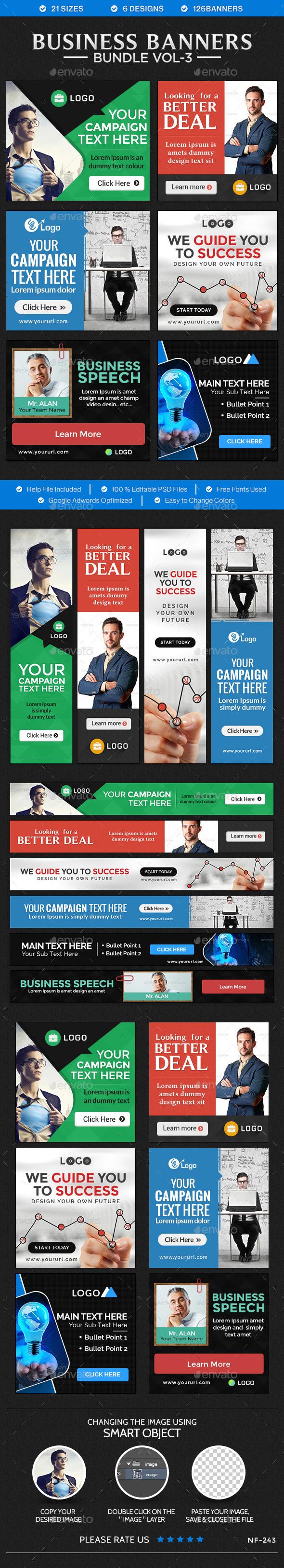 Business Banners Bundle - 6 sets - Banners & Ads Web Elements