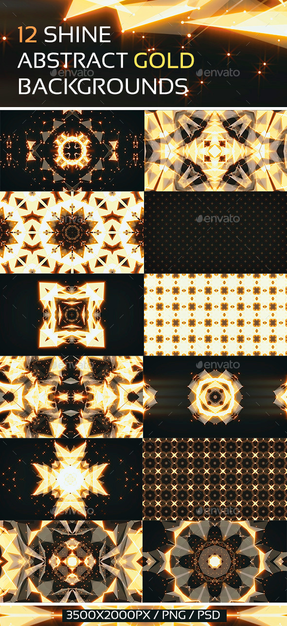 12 Shine Abstract Gold Backgrounds - Abstract Backgrounds