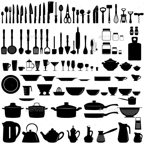 Set of Kitchen Untesils - Food Objects