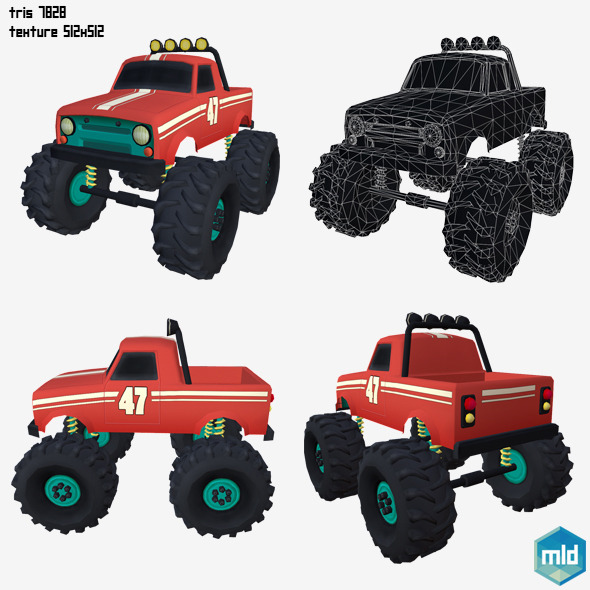 Low Poly Monster Car - 3DOcean Item for Sale