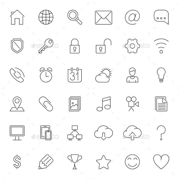 Thin Line Web Icons - Web Technology