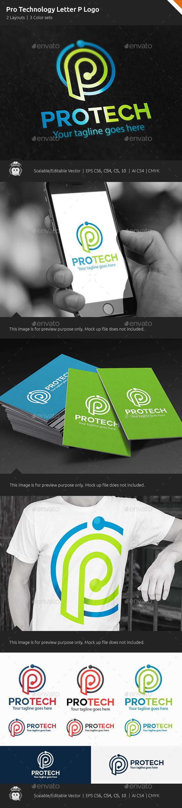 Pro Technology Letter P Logo - Letters Logo Templates