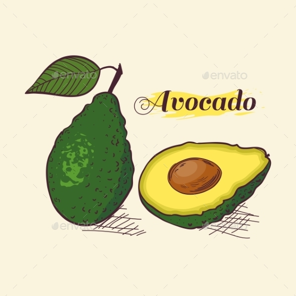 Whole Avocado with Leaf and Slice - Food Objects