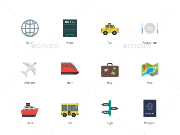 Travel Color Icons - Travel Conceptual