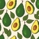 Seamless Pattern with Avocado and Leaf - GraphicRiver Item for Sale