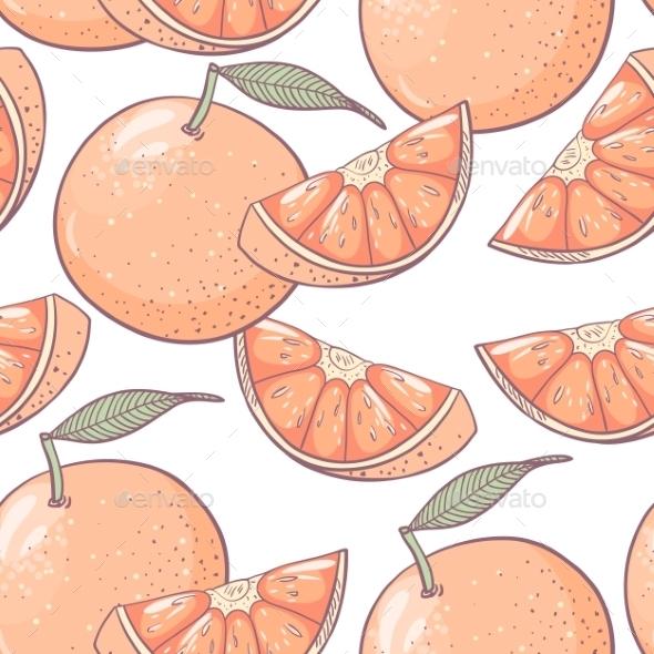 Grapefruit Seamless Pattern - Backgrounds Decorative