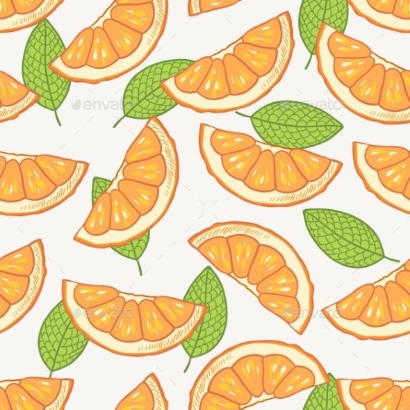 Orange Slice Seamless Pattern - Backgrounds Decorative