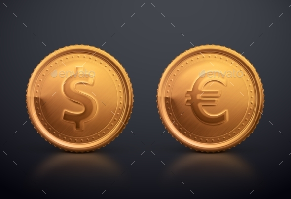 Coin Dollar and Euro - Commercial / Shopping Conceptual