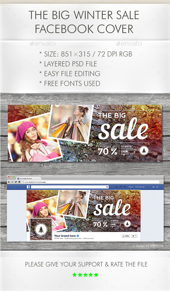 The Big Winter Sale Facebook Cover - Social Media Web Elements