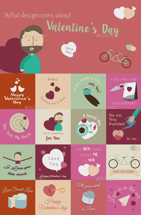 Happy Valentines Day Flat Design Cards - Valentines Seasons/Holidays