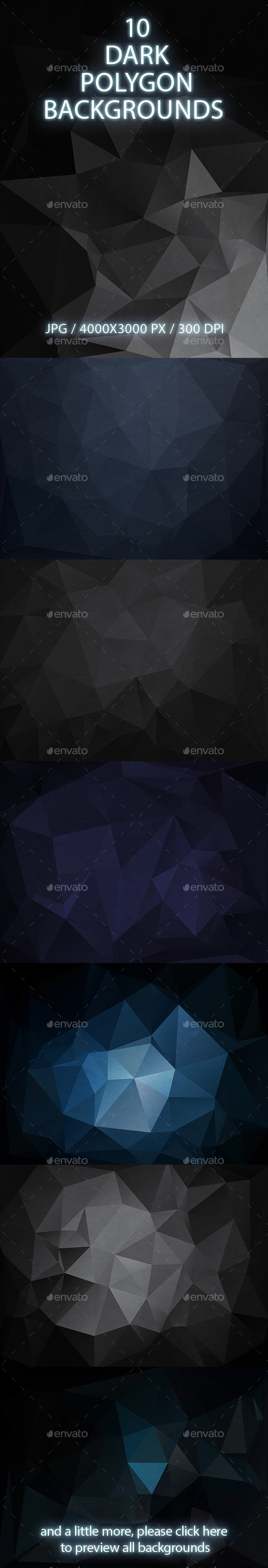 10 Dark Polygon Backgrounds - Abstract Backgrounds