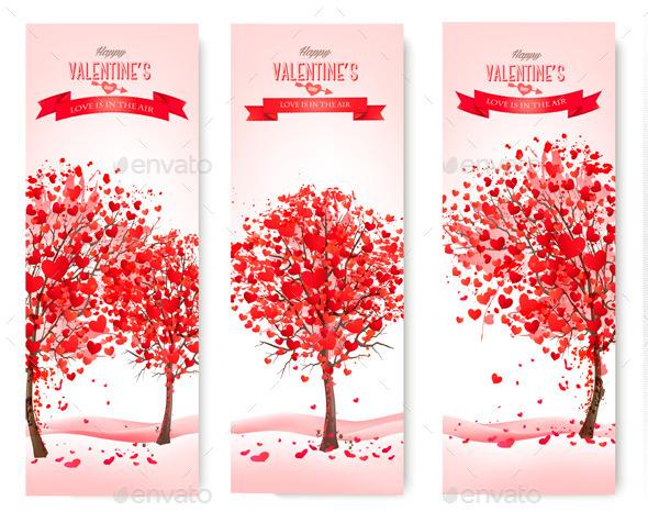 Holiday Retro Banners Valentine Trees - Valentines Seasons/Holidays