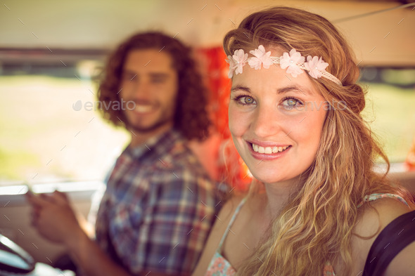 Hipster couple on road trip on a summers day - Stock Photo - Images