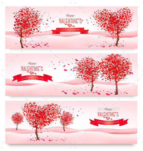 Holiday Retro Banners Valentine Trees with Hearts - Valentines Seasons/Holidays