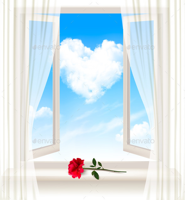Background with an Open Window and a Red Flower - Weddings Seasons/Holidays