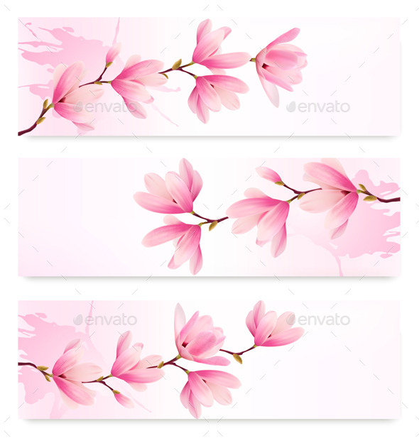 Three Spring Banners with Blossomed Flowers - Flowers & Plants Nature