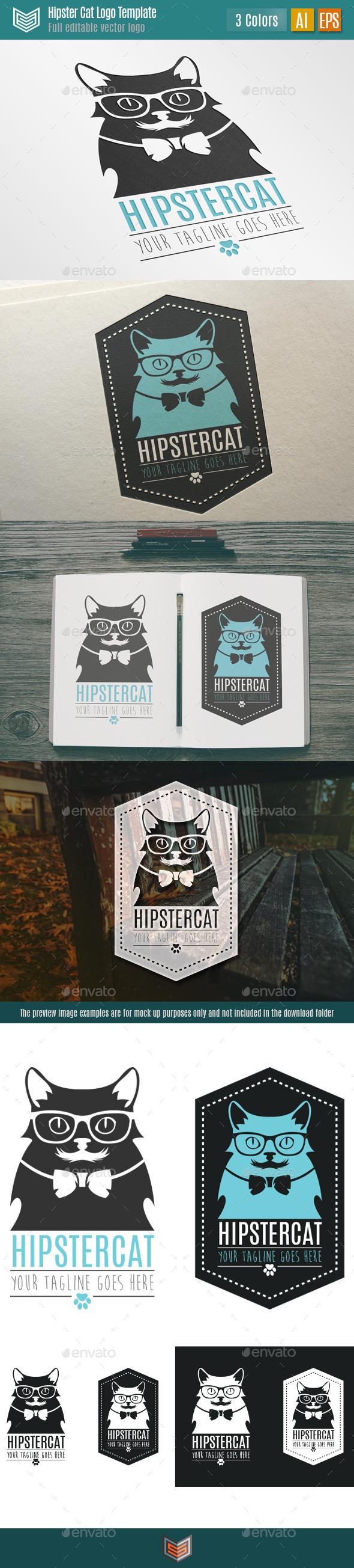 Hipster Cat Logo - Animals Logo Templates