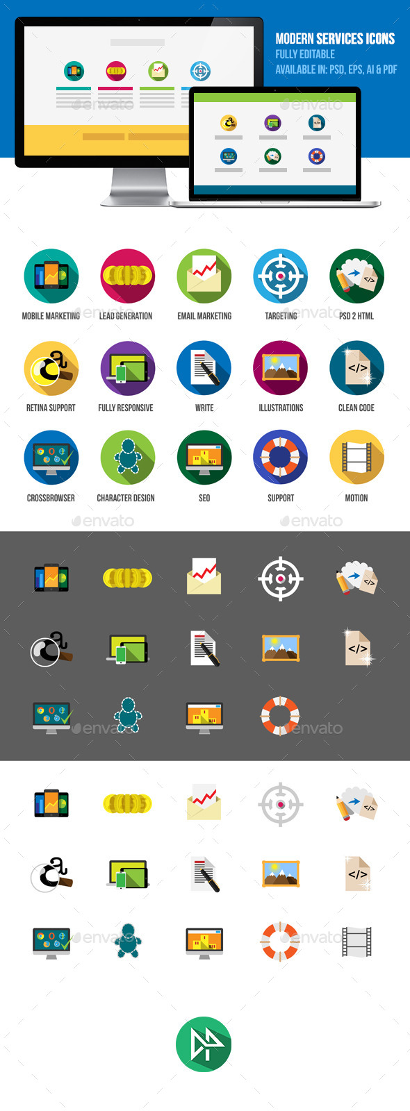 Modern IT Services Flat Icons - Business Icons