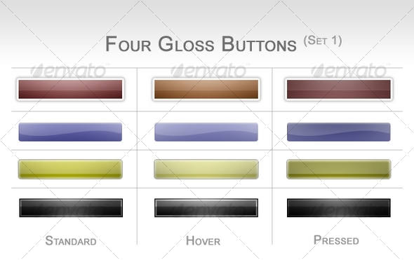 Four Gloss Buttons (Set 1) - Buttons Web Elements