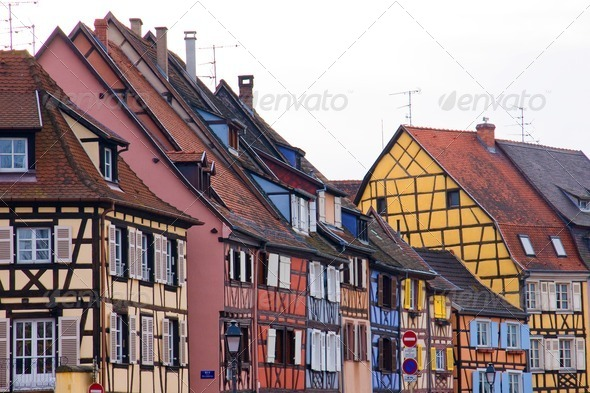 Colourful half timbered houses - Stock Photo - Images