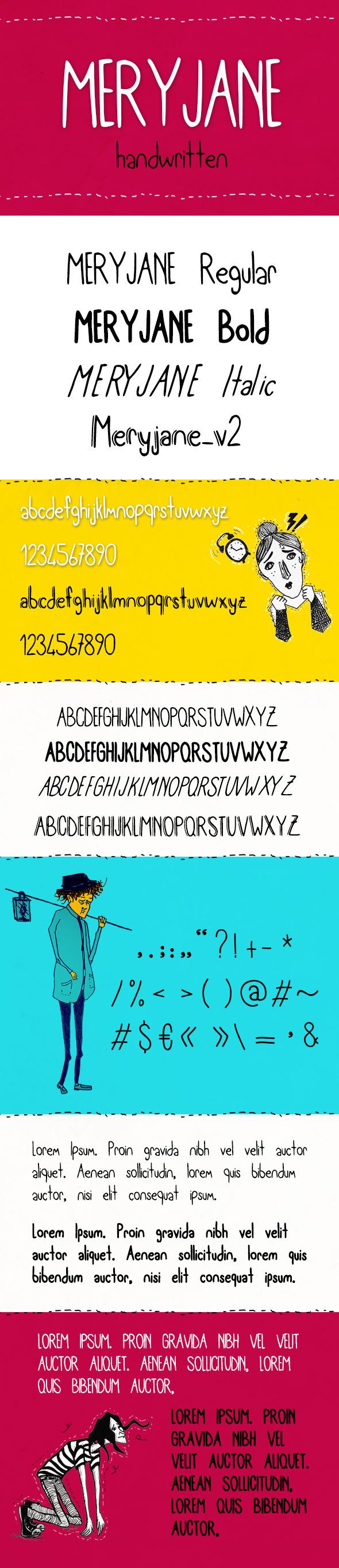 Meryjane Handwritten Typeface - Hand-writing Script