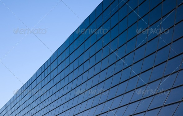Modern facade with black glass - Stock Photo - Images
