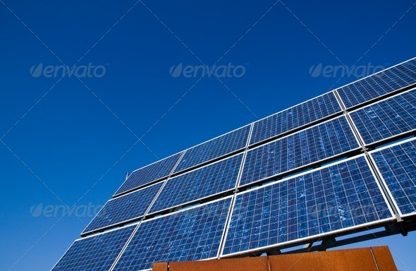 Solar energy panel with a blue sky - Stock Photo - Images