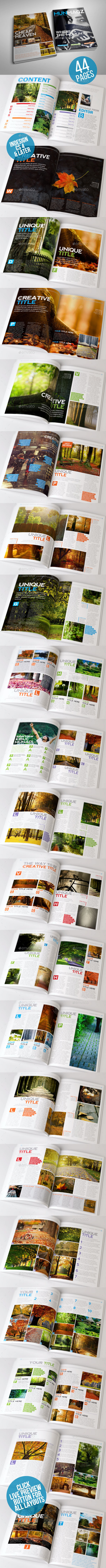 Clean and Simple Magazine Template 44 Page - Magazines Print Templates