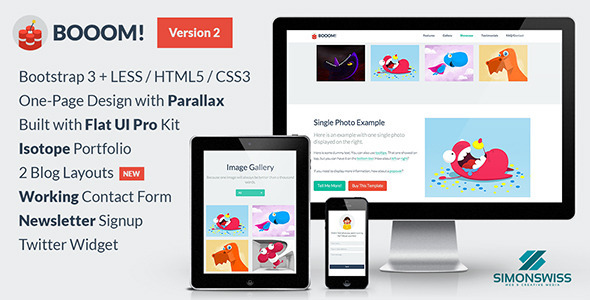 Booom! - One-Page Flat UI Pro Bootstrap 3 Template - Landing Pages Marketing