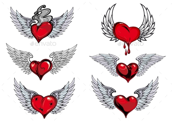Winged Heart Icons and Tattoos - Tattoos Vectors
