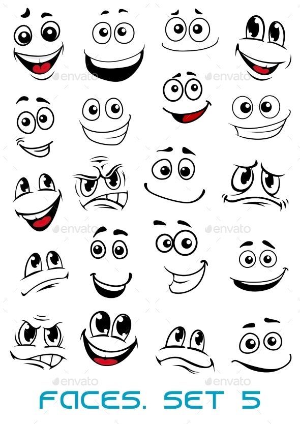 Cartoon Faces with Different Expressions - People Characters