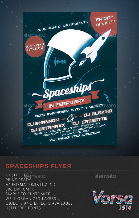 Spaceships Party Flyer - Clubs & Parties Events