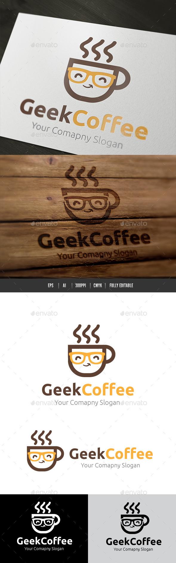 Geek Coffee - Humans Logo Templates