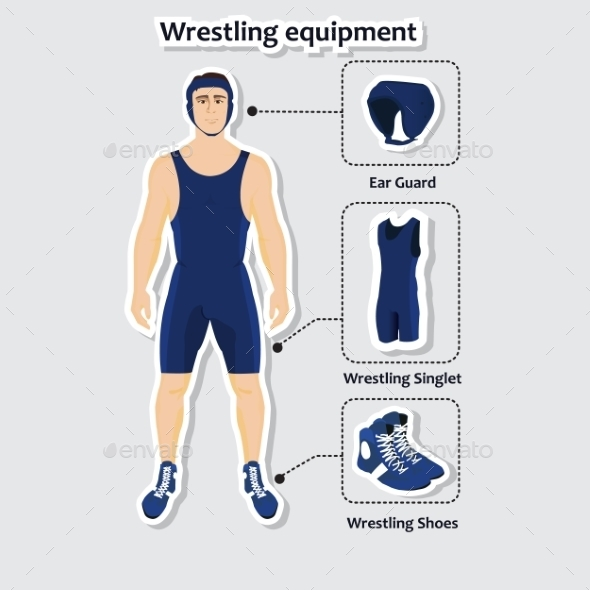 Set of Wrestling Equipment with a Man - Sports/Activity Conceptual