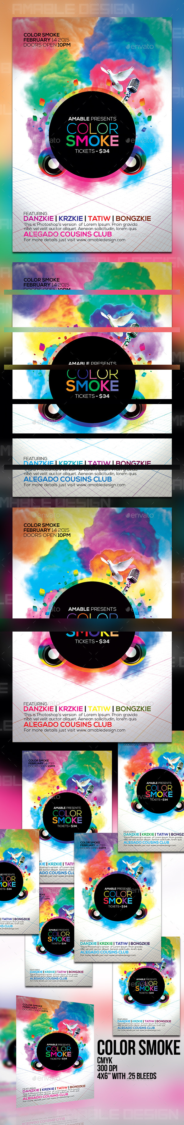 Color Smoke Flyer - Clubs & Parties Events