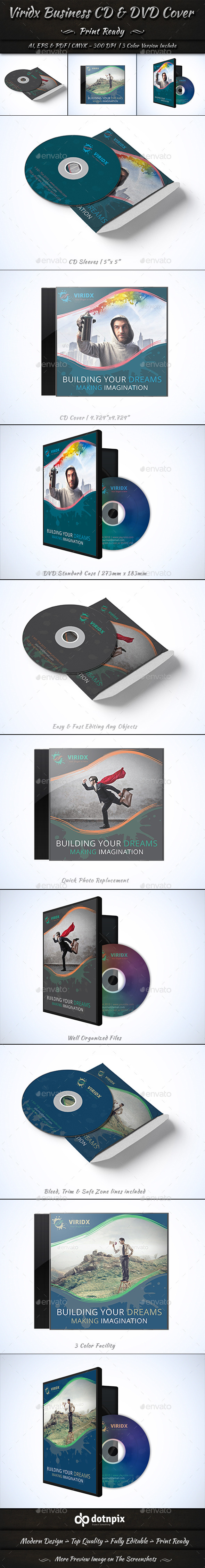 Viridx Business CD & DVD Cover - CD & DVD Artwork Print Templates