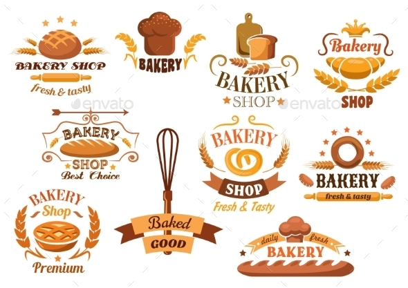 Large Set of Bakery Labels or Badges - Food Objects