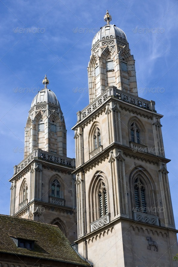Grossmuenster in Zurich - Stock Photo - Images