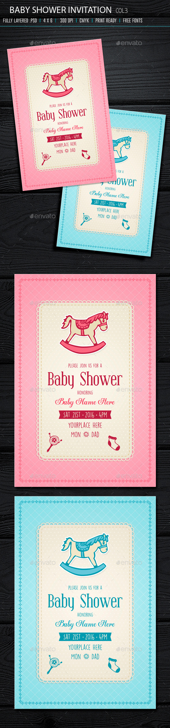 Baby Shower Invitation 3 - Cards & Invites Print Templates
