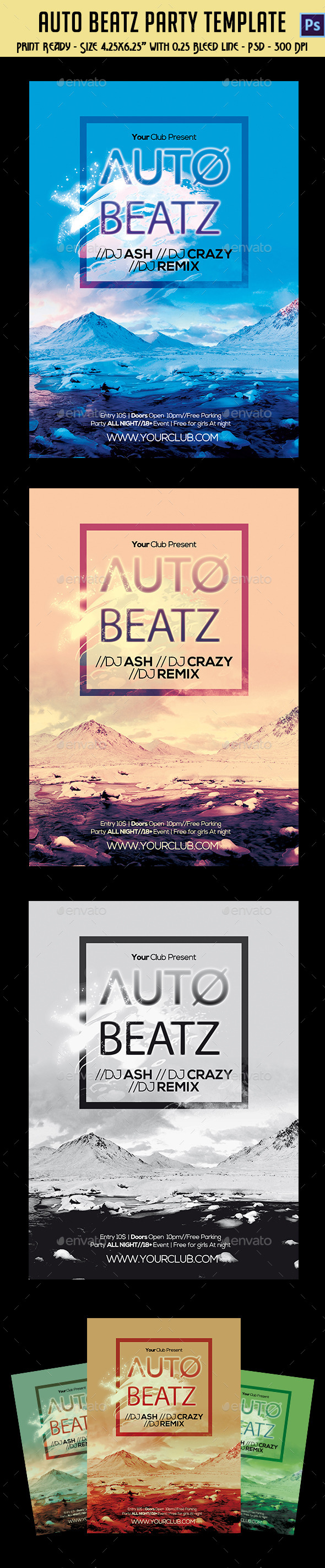 Auto Beatz Party Template - Clubs & Parties Events