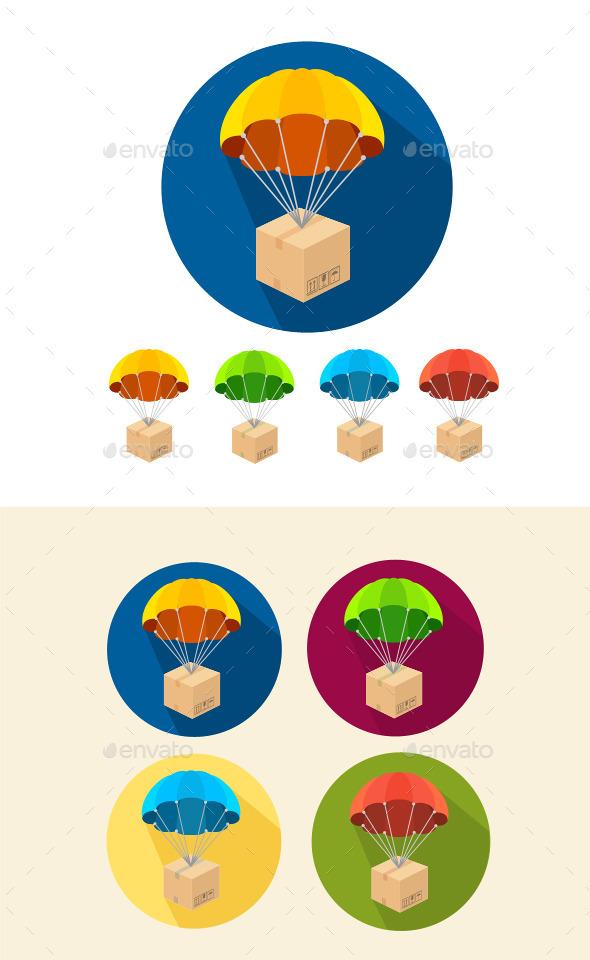 Parachutes Icons Set - Commercial / Shopping Conceptual