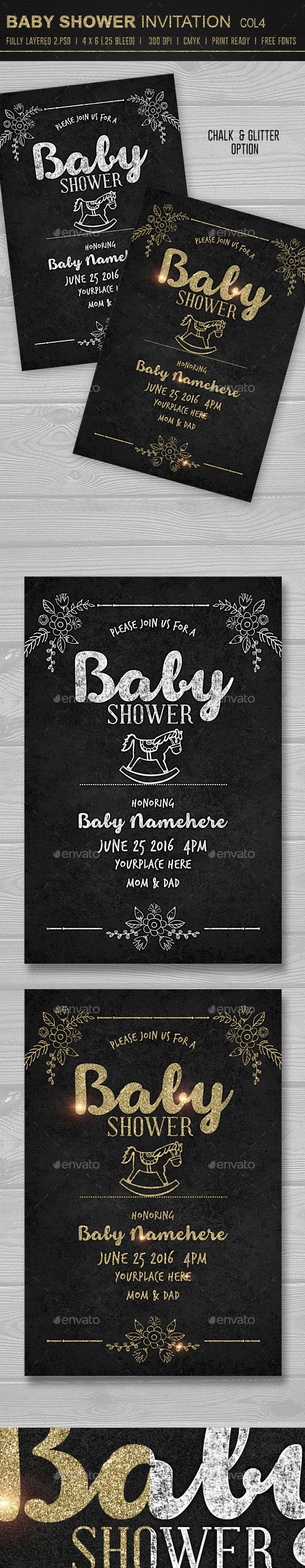 Baby Shower Invitation 4 - Cards & Invites Print Templates